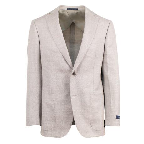 Pal Zileri // Woven Wool Blend 2 Button Sport Coat // Beige + Free Kiton Pocket Square (Euro: 46)