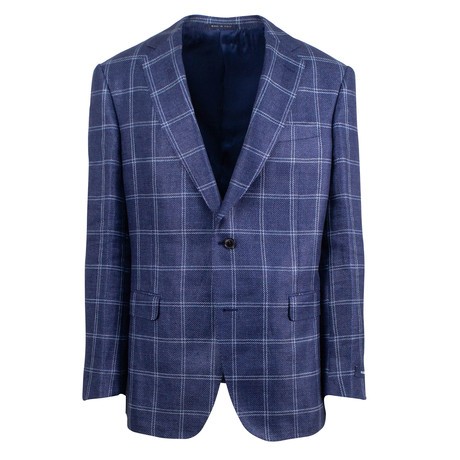 Pal Zileri Sartoriale Blue Label // 2 Button Windowpane Sport Coat // Blue // Free Kiton Pocket Square (Euro: 46)