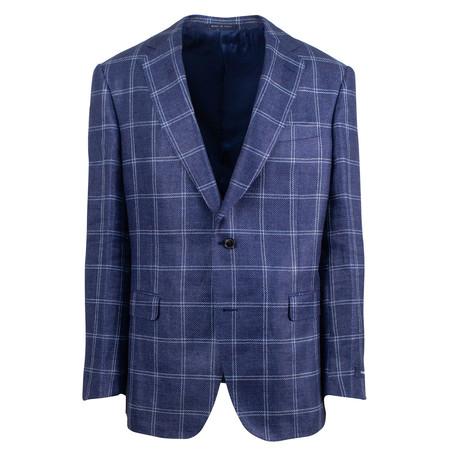 Pal Zileri Sartoriale Blue Label // 2 Button Windowpane Sport Coat // Blue // Free Kiton Pocket Square (Euro: 46)