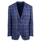 Pal Zileri Sartoriale Blue Label // 2 Button Windowpane Sport Coat // Blue // Free Kiton Pocket Square (Euro: 54)