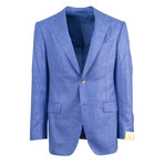 Pal Zileri Sartoriale Blue Label // 2 Button Plaid Sport Coat // Blue + Free Kiton Pocket Square (Euro: 46)