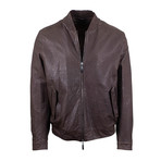 Pal Zileri Sartoriale // Ostrich Leather Bomber Jacket // Brown (Euro: 46)