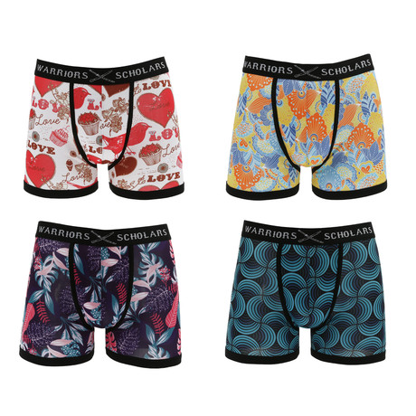 Monterey Moisture Wicking Boxer Brief // White + Yellow + Blue + Red // Pack of 4 (S)