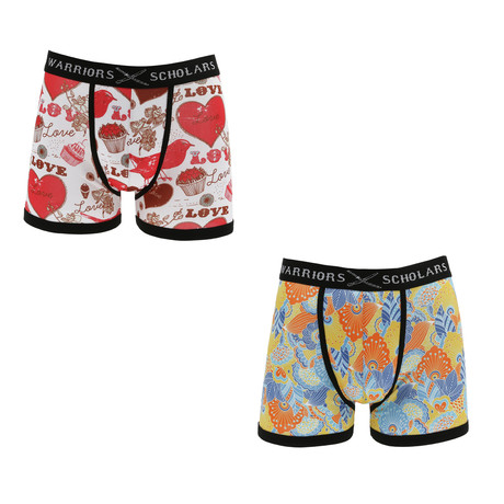 Hasbrouck Moisture Wicking Boxer Brief // White + Red // Pack of 2 (S)