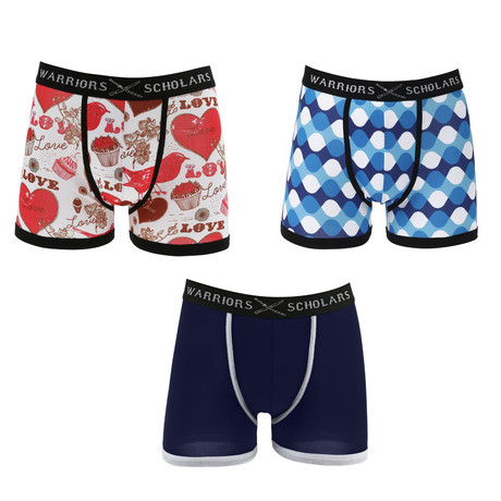 Parry Moisture Wicking Boxer Brief // White + Blue + Red // Pack of 3 (S)