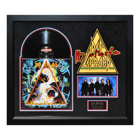 Framed Autographed Album Collage // Def Leppard Hysteria