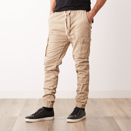 Cotton Blend Twill Cargo Joggers // Khaki (S)