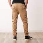 Cotton Blend Twill Cargo Joggers // Timber (S)