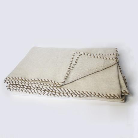 Knitted Cashmere Throw // Whip Stitch (Ivory)