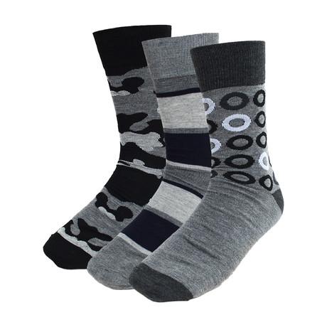 Ian Dress Socks // Gray + Black  // 3 Pack