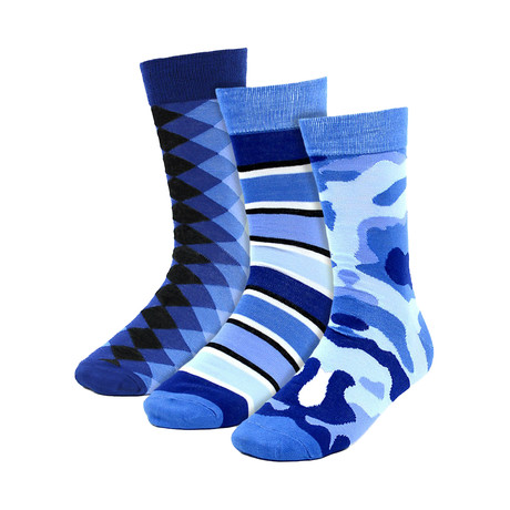 Carlo Dress Socks // Blue // 3 Pack