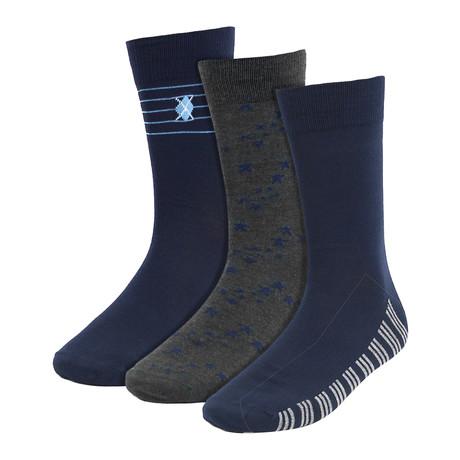 Shirley Dress Socks // Navy + Gray // 3 Pack