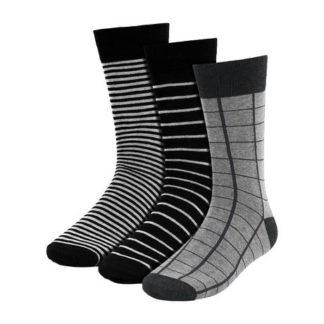 Elisha Stripe Dress Socks // Black + Gray // 3 Pack