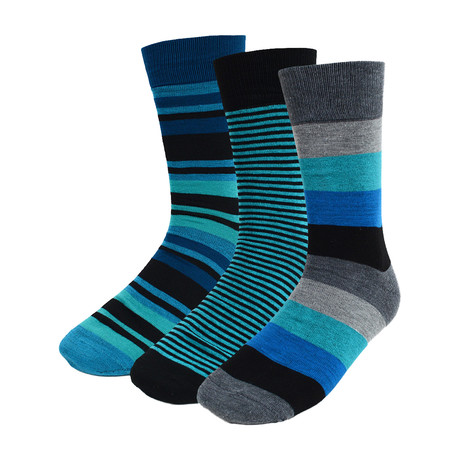 Jarvis Stripe Dress Socks // Light Blue // 3 Pack