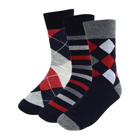 Billie Dress Socks // Red + White + Navy // 3 Pack