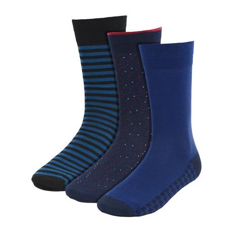 Warner Dress Socks // Dark Blue // 3 Pack