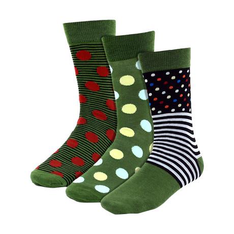 Jimmie Dress Socks // Olive // 3 Pack