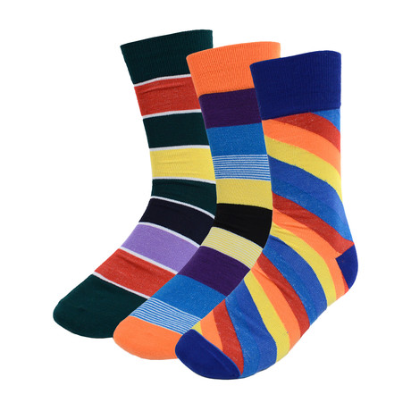 Ivan Colorful Striped Dress Socks // 3 Pack