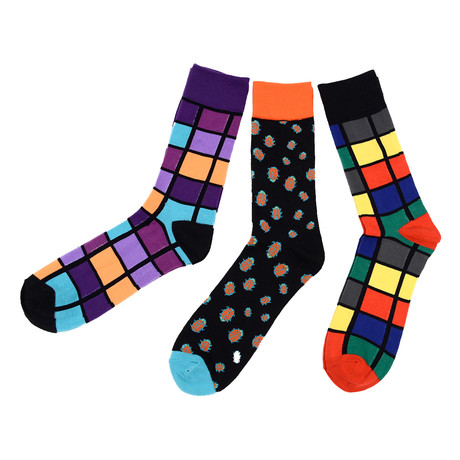 Donald Colorful Cube Dress Socks // 3 Pack