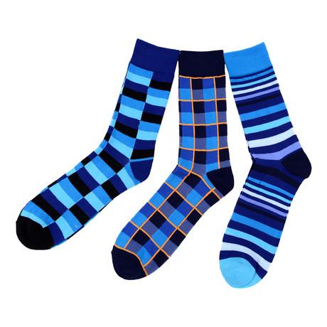 Philip Blue Geometric Dress Socks  // 3 Pack