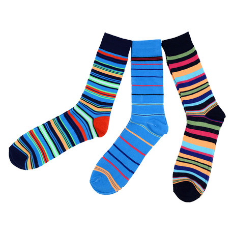 Miguel Colorful Stripe Dress Socks // 3 Pack