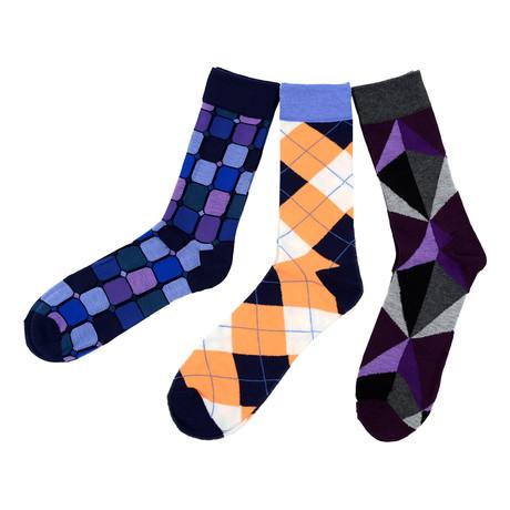 Micheal Colorful Geometric Dress Socks // 3 Pack