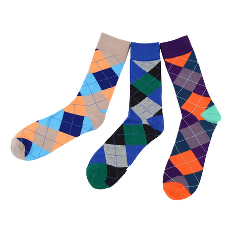 Sung Colorful Argyle Dress Socks // 3 Pack