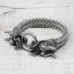 "Dragon Clasp Franco Chain Bracelet // Silver // 8.5"""