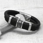 Woven Braided Leather Bracelet (Black)