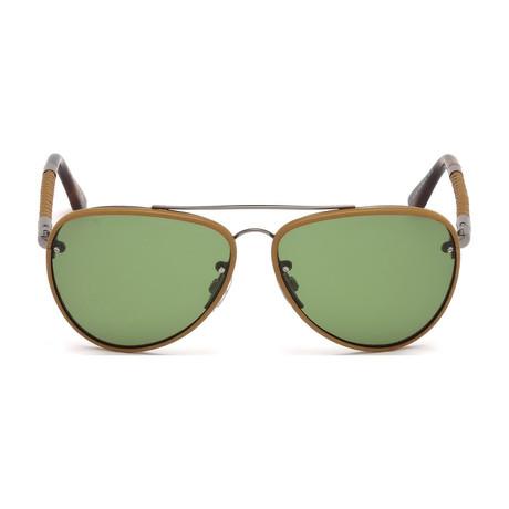 Tod's // Men's Aviator Sunglasses // Dark Havana + Green