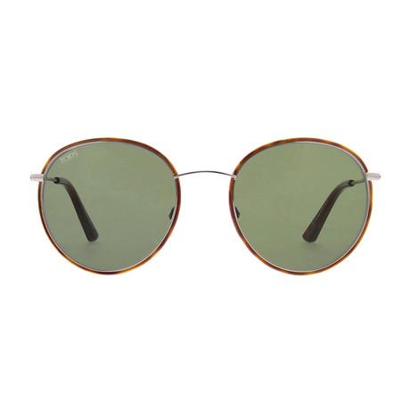 Tod's // Men's Classic Round Metal Sunglasses // Havana + Green