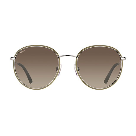 Tod's // Classic Round Metal Sunglasses // Shiny Dark Green + Gradient Roviex