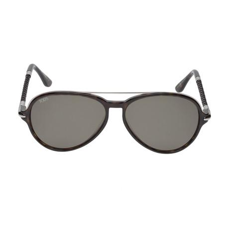 Tod's // Men's Modern Aviator Sunglasses // Dark Havana + Green