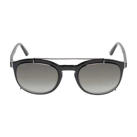 Tod's // Classic Double Bridge Sunglasses // Shiny Black + Gradient Green