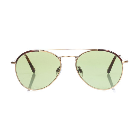 Tod's // Round Aviator Sunglasses // Bronze + Green