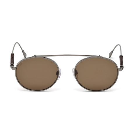 Tod's // Men's Round Titanium Top Bar Sunglasses // Shiny Dark Ruthenium + Brown