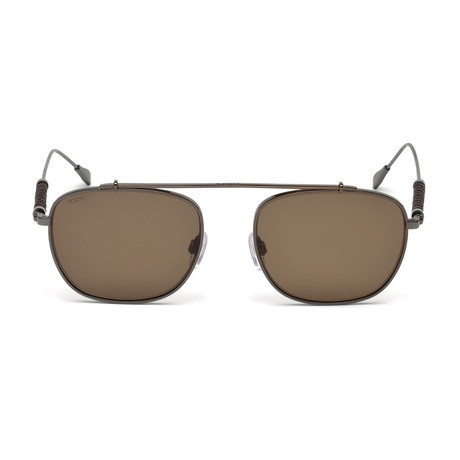 Tod's // Square Titanium Top Bar Sunglasses // Shiny Dark Ruthenium + Brown