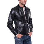 Zip-Up Leather Jacket // Black (2XL)