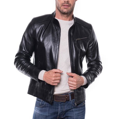 Zip-Up Leather Jacket // Black (S)