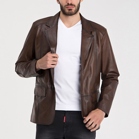 Patched Leather Jacket // Chestnut (S)