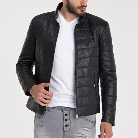 Quilted Leather Jacket // Black (S)