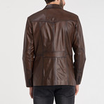 Patched Leather Jacket // Chestnut (2XL)