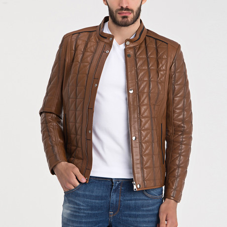 Quilted Leather Jacket // Light Brown (XL)