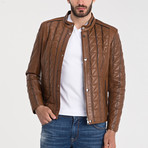 Quilted Leather Jacket // Light Brown (M)