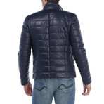 Puffed Leather Jacket // Navy (S)