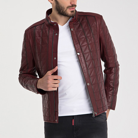 Quilted Leather Jacket // Dark Red (S)