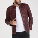 Quilted Leather Jacket // Dark Red (3XL)