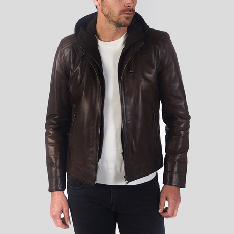 Hooded Leather Jacket // Dark Brown (S)