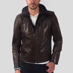 Hooded Leather Jacket // Dark Brown (XL)