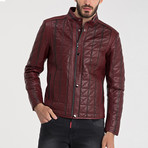 Quilted Leather Jacket // Dark Red (2XL)